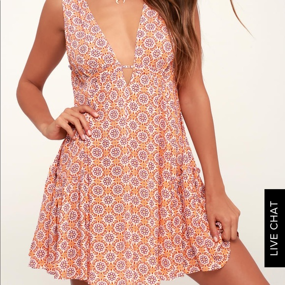 72c5d5cfe0068 Lulu's Dresses & Skirts - Lulu's SUN DANCER ORANGE TILE PRINT SWING DRESS